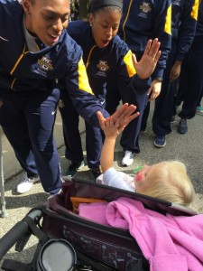 Getting high-fives from the Marquette Women's Basketball team!